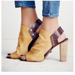 Free people peep toe leather booties
